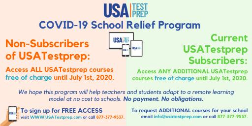 USATestprep COVID-19 School Relief Program